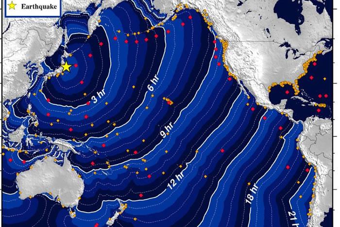Un mapa emitido por la NOAA muestra el tiempo estimado que le tomaría a un tsunami producido por el gran terremoto de Japón para llegar a las diferentes regiones del Pacífico, incluyendo Nicaragua. LA PRENSA/REPRODUCCIÓN INTERNET/NOAA