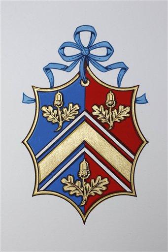 El nuevo escudo de armas de la familia de Kate Middleton se ven en el Colegio de Armas en Londres. LA PRENSA/AP/ Suzanne Plunkett