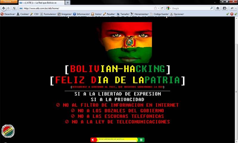 Anonymous hackea entidad de telecomunicación de Bolivia
