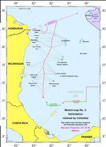 Imagen del mapa facilitado por la Corte Penal Internacional de La Haya con la delimitación que reclamaba Colombia en el litigio con Nicaragua. LA PRENSA/EFE