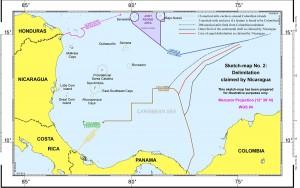 Imagen del mapa facilitado por la Corte Penal Internacional de La Haya con la delimitación que reclamaba Nicaragua en el litigio con Colombia. LA PRENSA/EFE