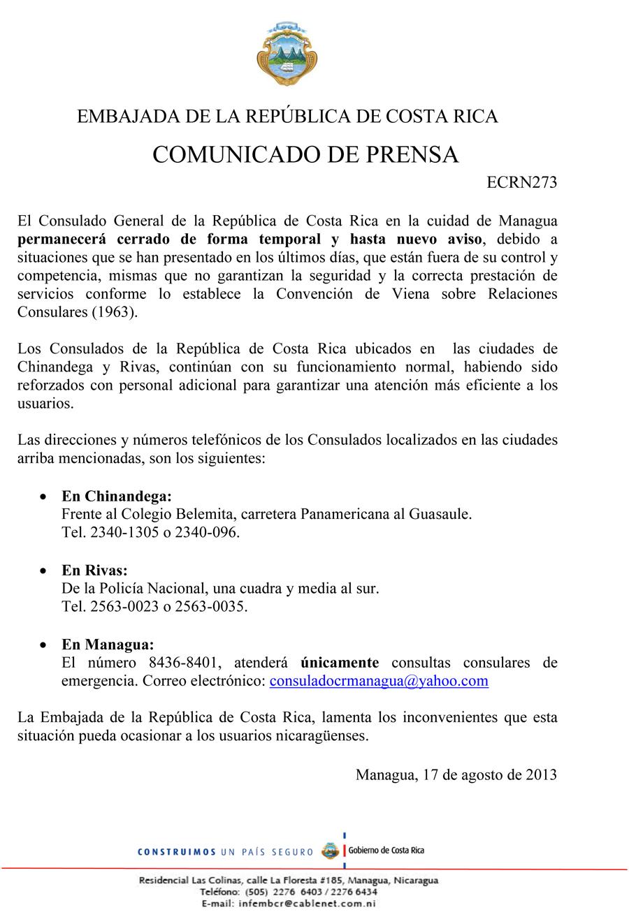 Consulado de Costa Rica en Managua cerrado temporalmente ... - photo#39