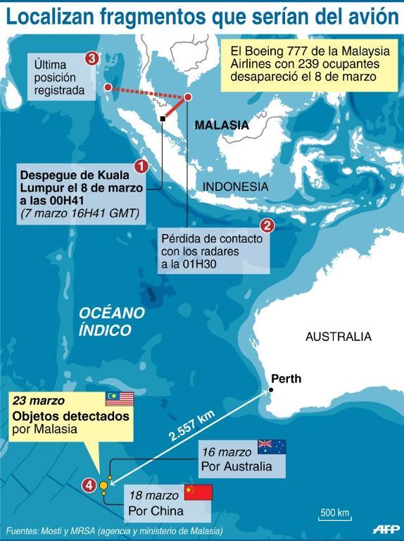 Localización de los fragmentos del avión desaparecido el 8 de marzo en el océano Índico