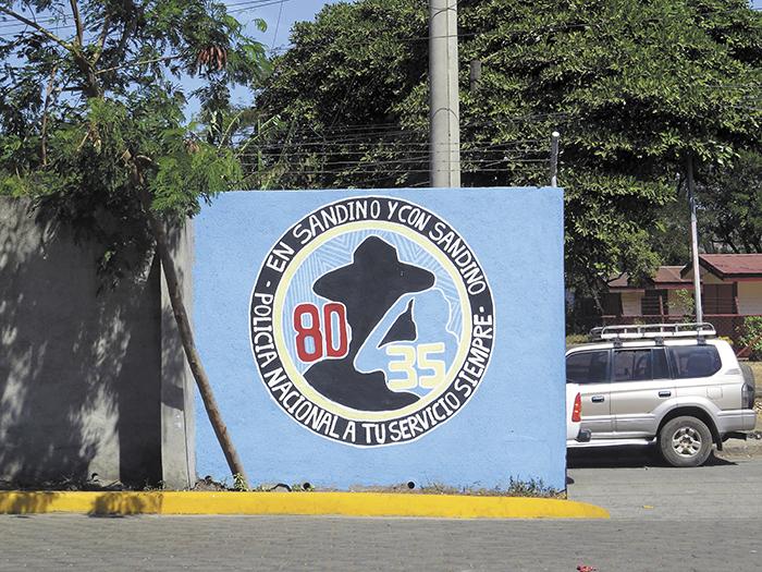 En el 2014 la Policía empezó a utilizar este tipo de membrete en la papelería oficial  que también aparece en el muro interior del edificio de la Policía en Ciudad Sandino. LA PRENSA/Y. REYES