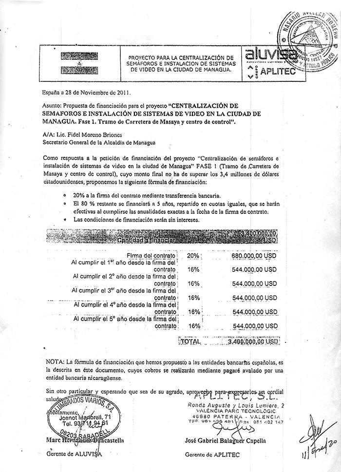 Esta fue la primera propuesta de pagos  enviada por Aluvisa España a la Alcaldía de Managua en 2011.  Tres años después, la empresa fue adjudicada con el contrato, y el proyecto se cancelará de acuerdo a estas especificaciones.  LA PRENSA/ REPRODUCCIÓN