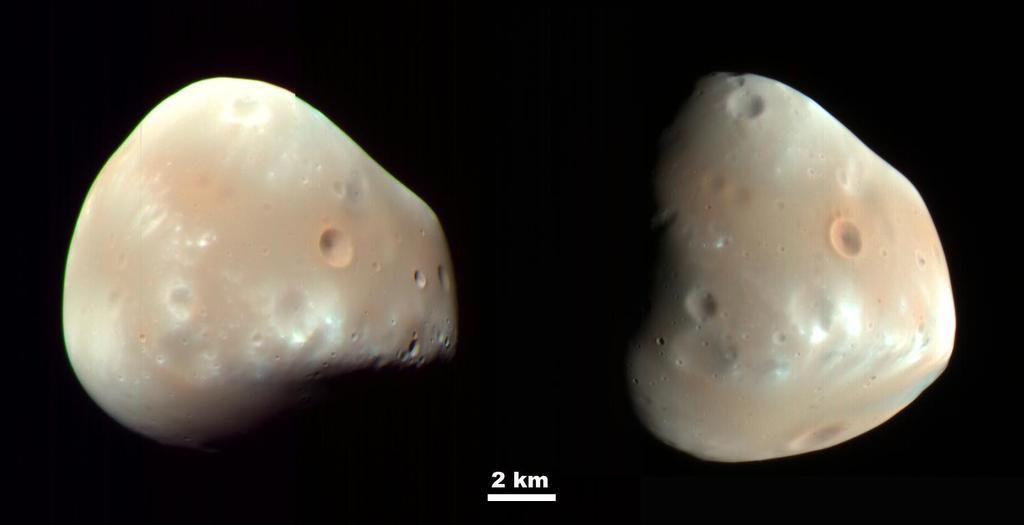 Deimos, una de las lunas de Marte. Foto de la NASA.