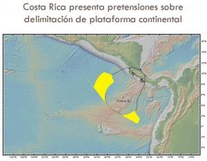 Este mapa, presentado por Costa Rica ante Naciones Unidas en 2009, proyecta el territorio marino que Costa Rica reclama como suyo en el océano Pacifico