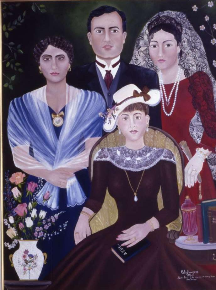 """""""Rubén Darío y sus tres musas de carne y hueso"""", pintura al óleo de Celia Lacayo."""