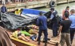 Parte de los cuerpos rescatados de las víctimas del naufragio de una lancha en Little Corn Island, Región Autónoma del Caribe Sur. LA PRENSA/AFP/STR