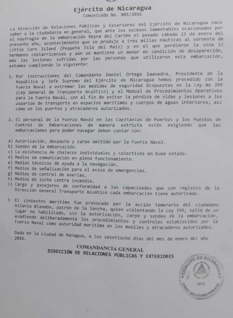 Circular del Ejército de Nicaragua sobre restricciones en zarpes.