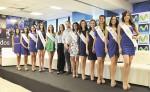 Las candidatas  acompañadas de Karen Celebertti, directora de Miss Nicaragua, y Carlos Cuadra, gerente de Publicidad de Telefónica  Movistar.  LA PRENSA /CORTESÍA