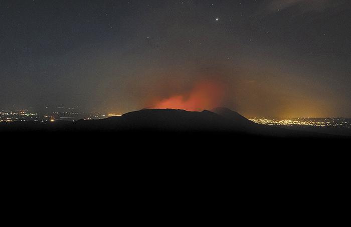 El volcán Masaya, uno de los cuatro volcanes de Nicaragua que ha registrado actividad en los últimos días. LA PRENSA/Jorge Torres.
