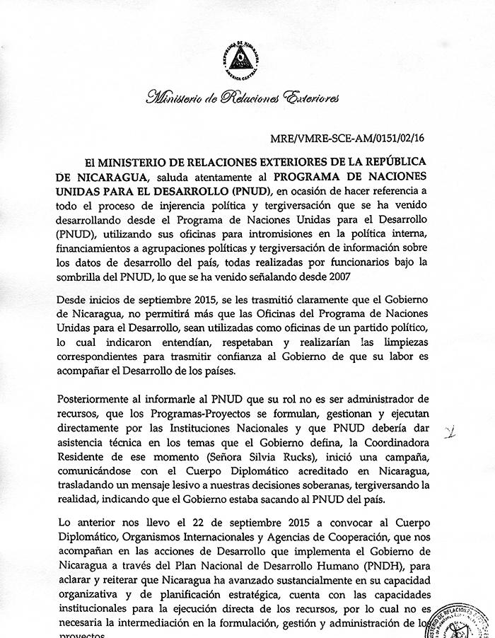La Cancillería adjuntó a la carta, enviada el viernes pasado, publicaciones de LA PRENSA informando sobre la situación del PNUD ante los cambios de lineamientos en la cooperación.