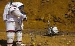 Un astronauta realiza ensayos de exploración marciana dentro de los que se están desarrollando en la cuenca minera de Riotinto (Huelva) del proyecto europeo MOONWALK. Imagen con fines ilustrativos. LA PRENSA/EFE/Julián Pérez