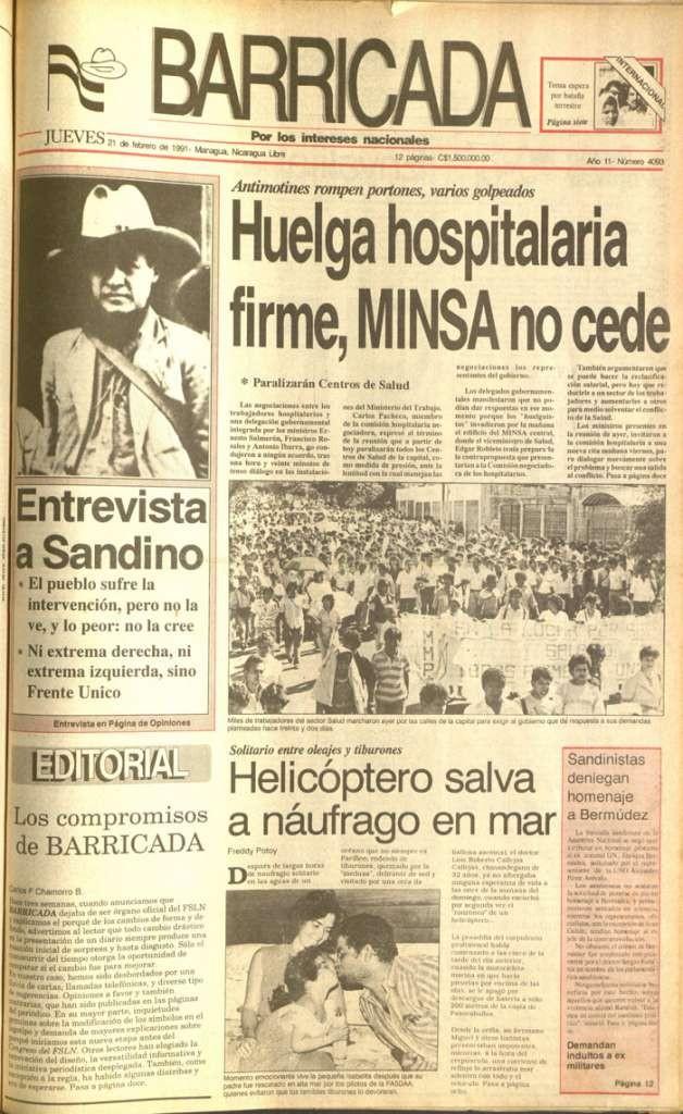 Portada del diario Barricada en febrero de 1991, con la noticia del naufragio de Luis Callejas. LA PRENSA/Archivo.