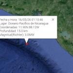 Sismo de 3.0 grados sacude el Pacífico de Nicaragua