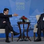 Durante la Cumbre de Líderes de Norteamérica Peña Nieto agradeció a Obama la invitación de visitar Washington en su visita a la Casa Blanca en 2017. LA PRENSA/AFP
