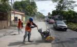 La Alcaldía de Managua coloca concreto hidráulico en una parte del camino a Veracruz.  El espesor del pavimento es de 18 centímetros. LA PRENSA/M.VALENZUELA