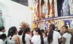 Los estudiantes han llegado al templo parroquial Santa Ana  para conocer más sobre las celebraciones a la patrona de Chinandega. LA PRENSA/S.MARTÍNEZ