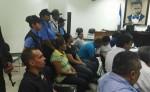 Los cinco acusados por el secuestro de bebé en el hospital Alemán Nicaragüense durante la audiencia inicial. LA PRENSA/M. VÁSQUEZ