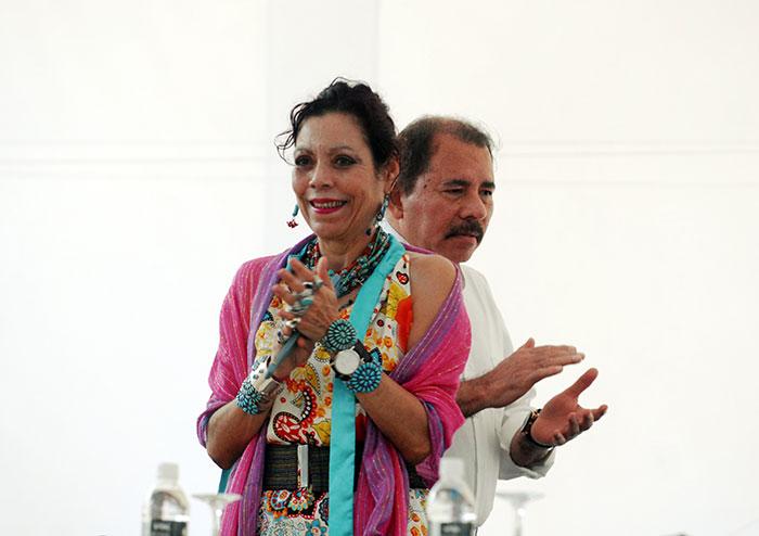 El presidente Daniel Ortega Saavedra junto a la primera dama Rosario Murillo. LA PRENSA/Oscar Navarrete.