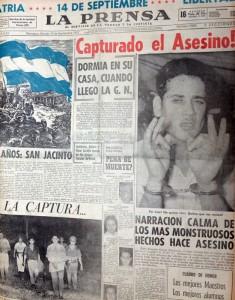 Portada de LA PRENSA del sábado 14 de septiembre de 1957, día en que capturaron al asesino triple Pompilio Ortega. LA PRENSA/Archivo.