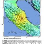 Imagen del Servicio Geológico de Estados Unidos (USGS) donde se ve el epicentro de un terremoto de magnitud 6.2 que golpeó el sureste de Norcia, Italia. LA PRENSA/EFE/USGS