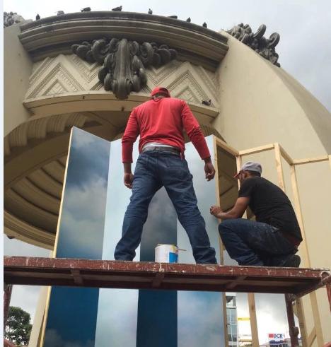 Montaje de la obra El Cianómetro, de Marcos Agudelo, instalación en kiosco de Costa Rica.LA PRENSA/CORTESÍA DE MARCOS AGUDELO.
