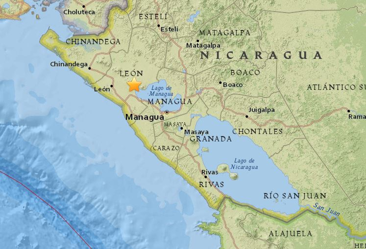 Este es el lugar exacto del sismo. Imagen tomada del sitio web especializado earthquake.usgs.gov.