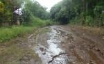 El camino que une los barrios  del kilómetro 44 de la carretera Granada-Masaya está intransitable por  fuga de agua potable. LA PRENSA/L. VARGAS