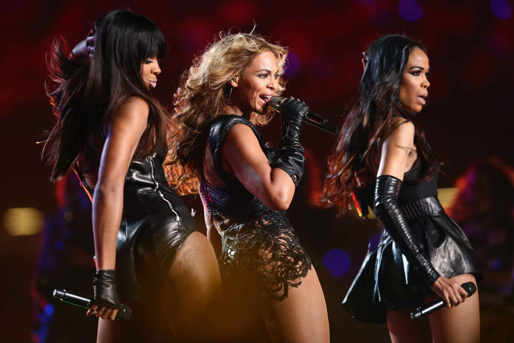 NEW ORLEANS, LA - FEBRUARY 03: Kelly Rowland, Beyonce Knowles and Michelle Williams of Destiny's Child perform during the Pepsi Super Bowl XLVII Halftime Show at Mercedes-Benz Superdome on February 3, 2013 in New Orleans, Louisiana. (Photo by Christopher Polk/Getty Images)