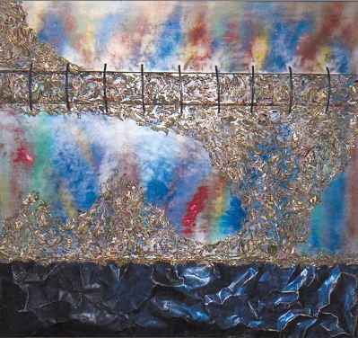 Pintura abstracta en altorrelieve, de Ilse Ortíz de Manzanares. LAPRENSA/MANUEL ESQUIVEL