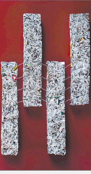 Pintura con geometrías de Ilse Ortiz de Manzanares , técnica mixta, óleo y aluminio en altorrelieve. LAPRENSA/CORTESÍA