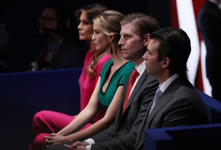 ST LOUIS, MO - OCTOBER 09: (L-R) Republican presidential nominee Donald Trump's wife Melania Trump, daughter Ivanka Trump, son Eric Trump and son Donald Trump, Jr. attend the town hall debate at Washington University on October 9, 2016 in St Louis, Missouri. This is the second of three presidential debates scheduled prior to the November 8th election. Win McNamee/Getty Images/AFP