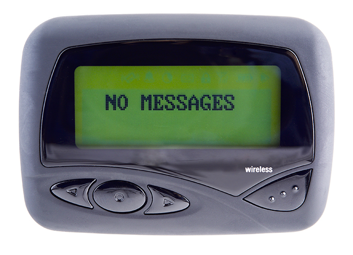 Wireless pager used to send and receive email,messages,sports,financial,and weather news. (14MP camera, isolated)