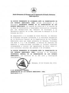 Esta es la carta de invitación que el Gobierno de Nicaragua envió a la OEA. LA PRENSA/REPRODUCCIÓN