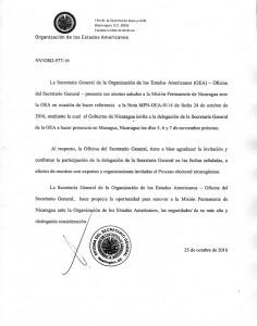 """Esta es la carta de la OEA aceptando hacer """"presencia"""" el día de las votaciones. LA PRENSA/REPRODUCCIÓN"""