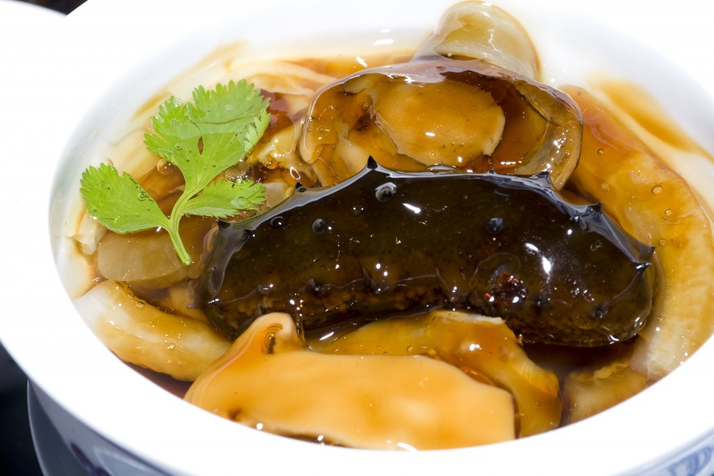 Chinese meal-sea cucumber traditional chinese cuisine specialty dish display