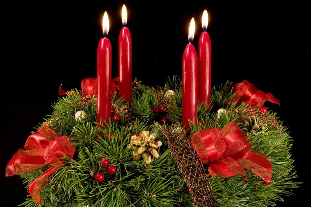 Advent wreath over black