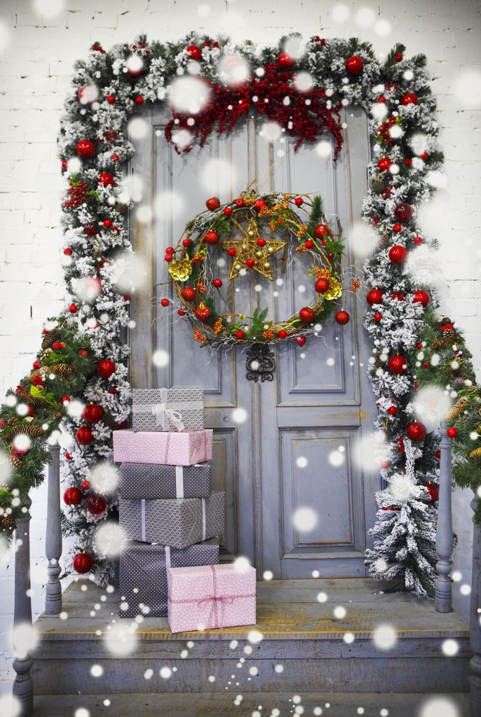 Wreath decoration at door for Christmas