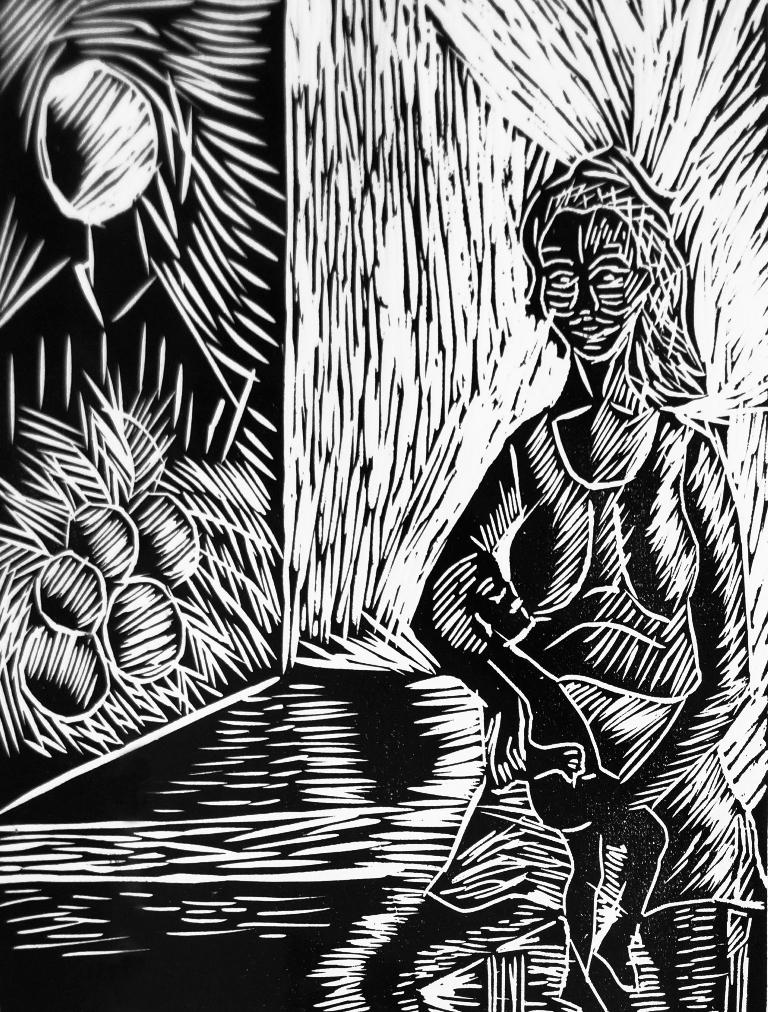Mama santa, litografia de Carolina Florez.LAPRENSA/ARNULFOAGÜERO