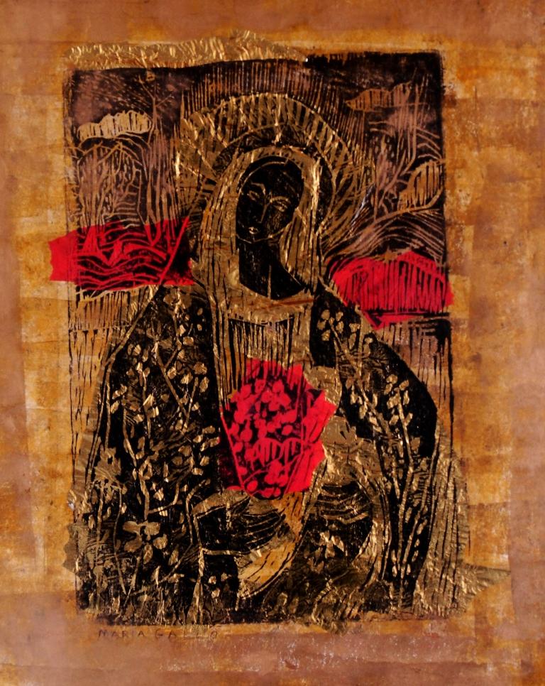 Virgen, xilografía y papelillo, de María Gallo. LAPRENSA/M. Matute