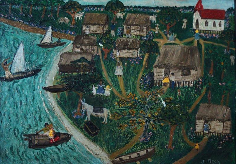 La Bahía de Bluefields , obra de la pintora primitivista June Beer. LAPRENSA/Arnulfo Agüero