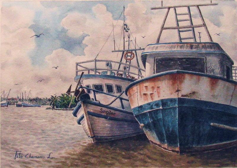 Dos amigos en reposo , pintura acrílica de Tito Chamorro. LAPRENSA/Arnulfo Agüero