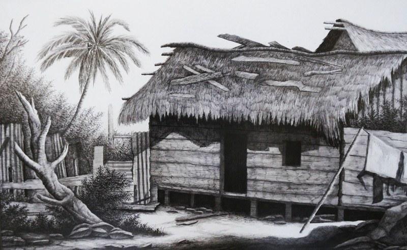 Casa del Caribe nicaragüense , plumilla sobre cartón crescent de Silvio Bonilla. LAPRENSA/Arnulfo Agüero