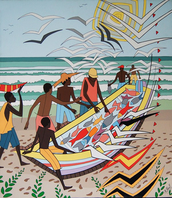 Pescadores, pintura de Augusto Silva. LAPRENSA/Arnulfo Agüero