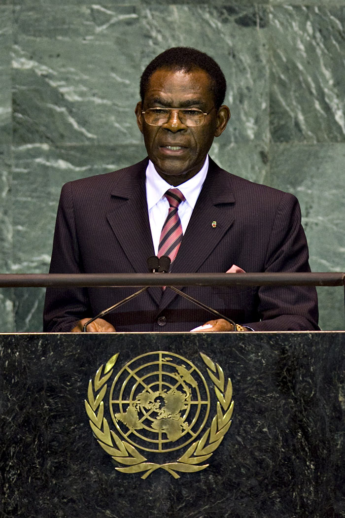 Teodoro Obiang Nguema Mbasogo, president of Equatorial Guinea, speaks during the 64th annual United Nations General Assembly at the United Nations in New York, U.S., on Wednesday, Sept. 23, 2009. The General Debate portion of the General Assembly runs until Sept. 28. Photographer: Daniel Acker/Bloomberg *** Local Caption *** Teodoro Obiang Nguema Mbasogo