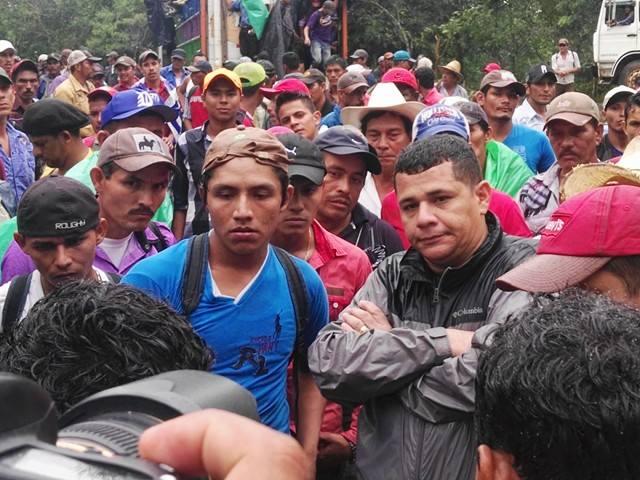 Supuesto infiltrado en la concentración de campesinos en La Fonseca. LA PRENSA/M. Urbina