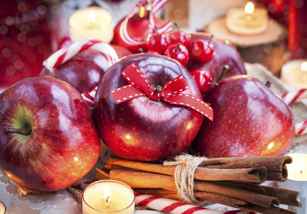 Christmas composition with red apples
