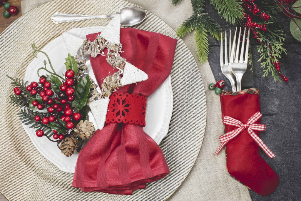 Christmas And New Year holiday place setting. Done with vintage retro filter.